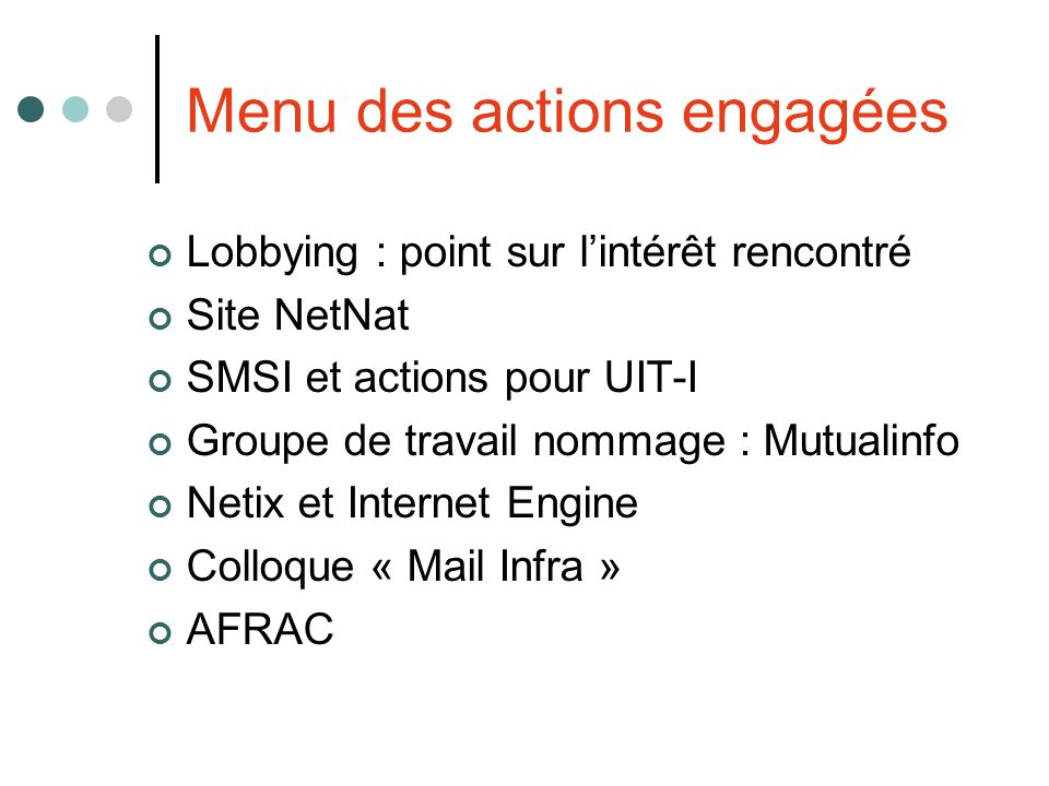 Menu des actions engagées Lobbying : point sur lintérêt rencontré Site NetNat SMSI et actions pour UIT-I Groupe de travail nommage : Mutualinfo Netix