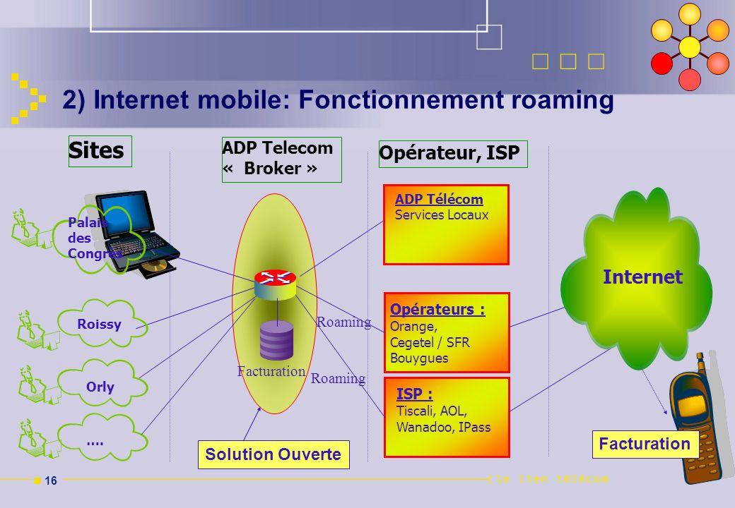 n 16 Opérateur, ISP Opérateurs : Orange, Cegetel / SFR Bouygues ISP : Tiscali, AOL, Wanadoo, IPass Palais des Congrès ADP Telecom « Broker » Sites Fac