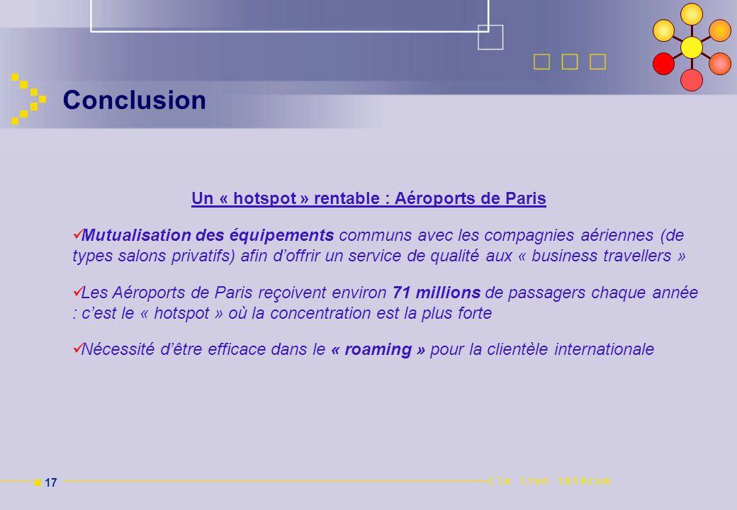 n 17 Conclusion Un « hotspot » rentable : Aéroports de Paris Mutualisation des équipements communs avec les compagnies aériennes (de types salons priv