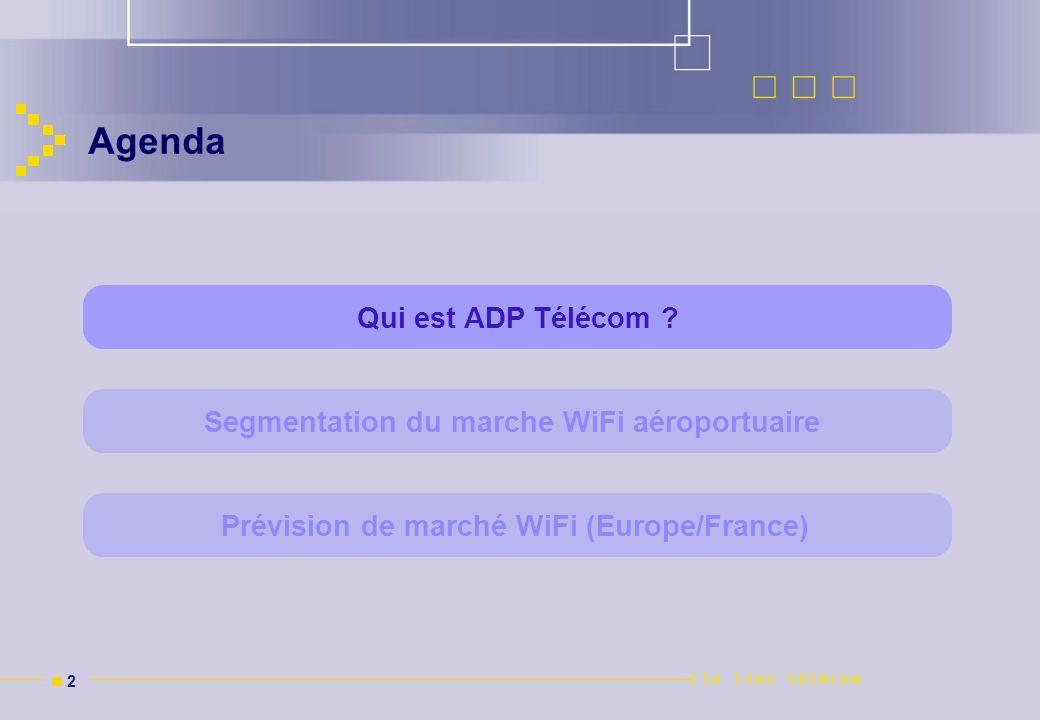 n 2n 2 Agenda Segmentation du marche WiFi aéroportuaire Prévision de marché WiFi (Europe/France) Qui est ADP Télécom ?
