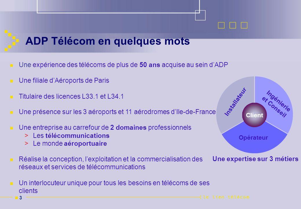n 3n 3 ADP Télécom en quelques mots Installateur Opérateur Ingénierie et Conseil Client Une expérience des télécoms de plus de 50 ans acquise au sein
