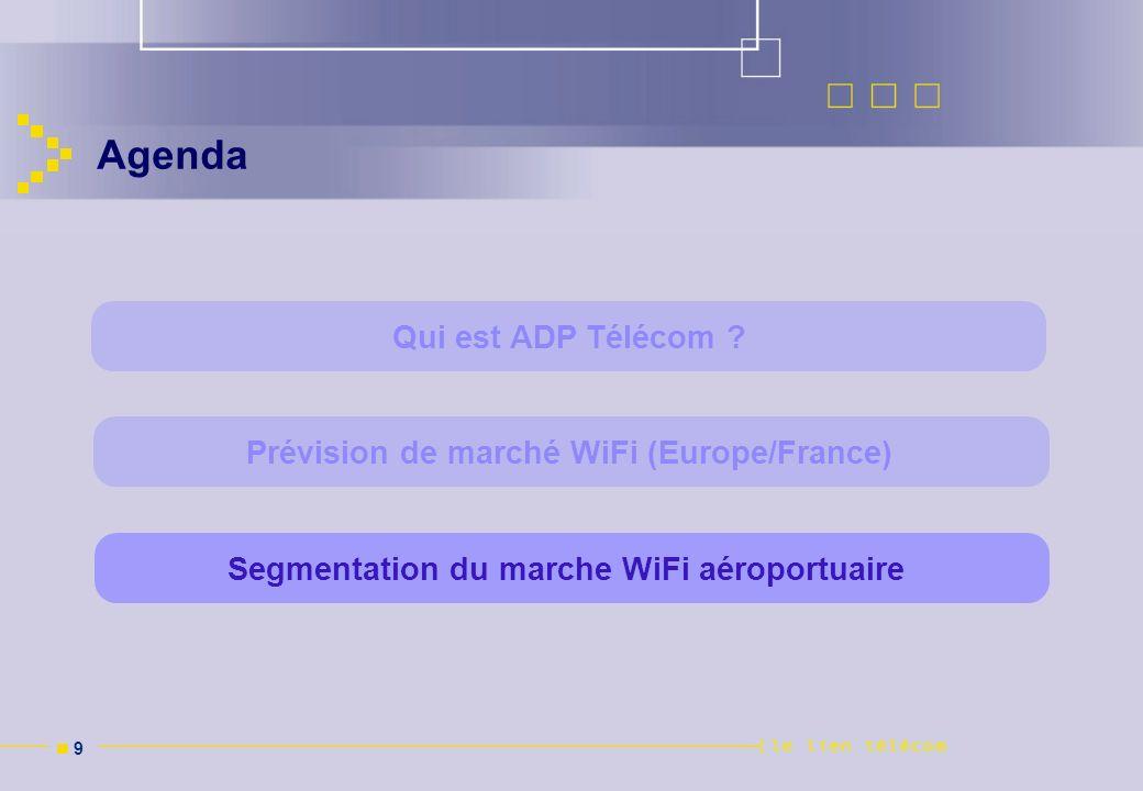 n 9n 9 Agenda Segmentation du marche WiFi aéroportuairePrévision de marché WiFi (Europe/France) Qui est ADP Télécom ?