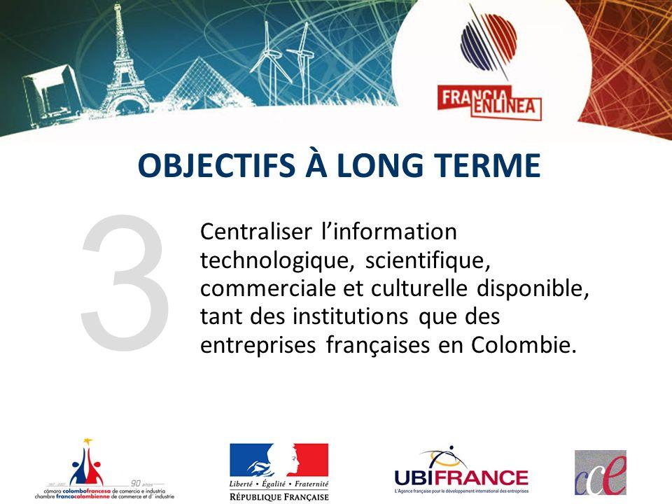 OBJECTIFS À LONG TERME Centraliser linformation technologique, scientifique, commerciale et culturelle disponible, tant des institutions que des entreprises françaises en Colombie.