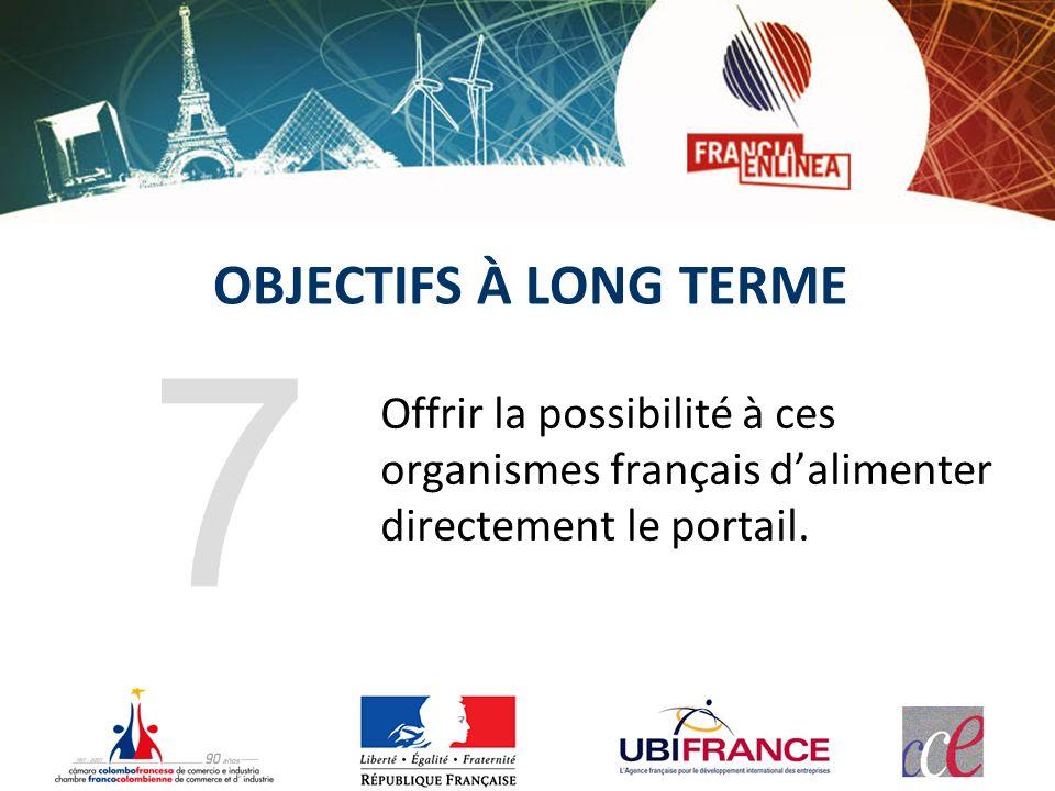 OBJECTIFS À LONG TERME Offrir la possibilité à ces organismes français dalimenter directement le portail. 7