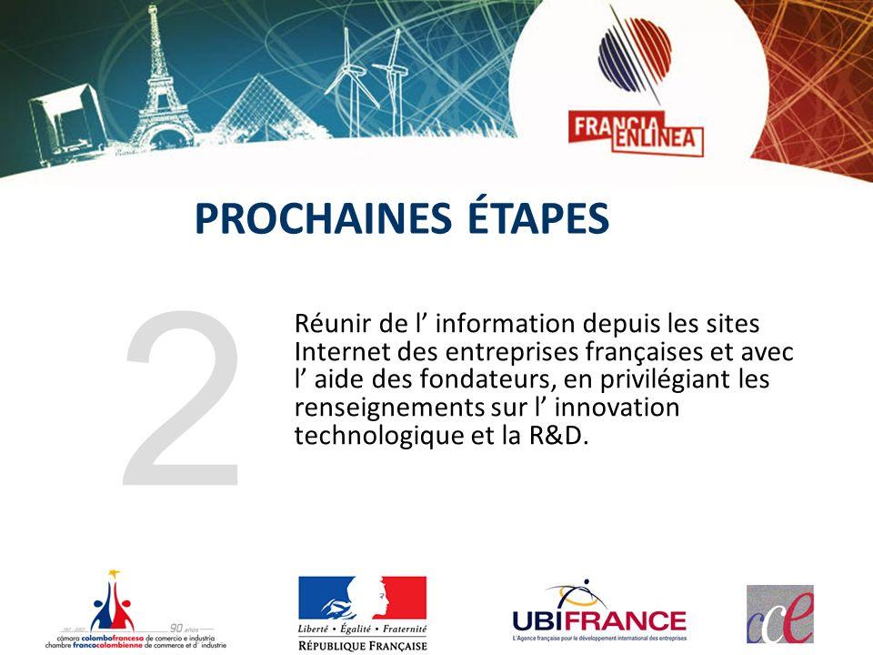 Réunir de l information depuis les sites Internet des entreprises françaises et avec l aide des fondateurs, en privilégiant les renseignements sur l innovation technologique et la R&D.