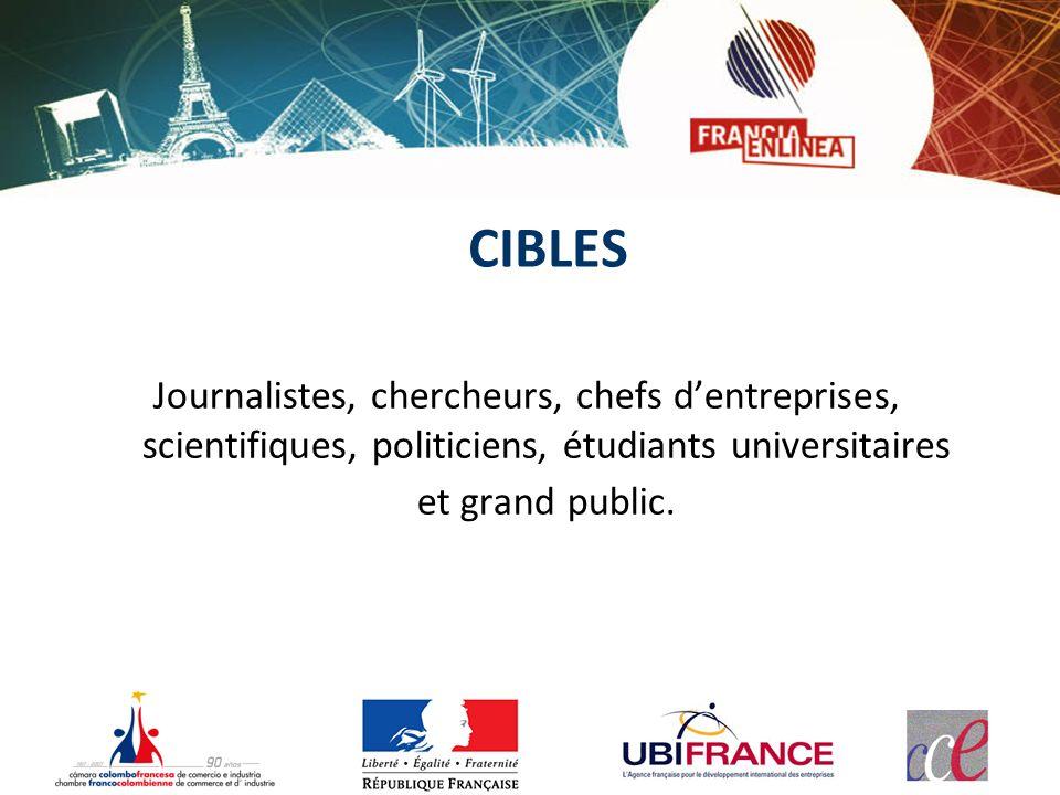 CIBLES Journalistes, chercheurs, chefs dentreprises, scientifiques, politiciens, étudiants universitaires et grand public.