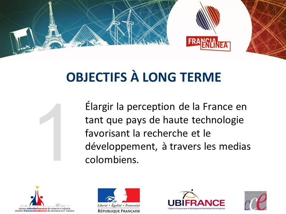 OBJECTIFS À LONG TERME Élargir la perception de la France en tant que pays de haute technologie favorisant la recherche et le développement, à travers les medias colombiens.