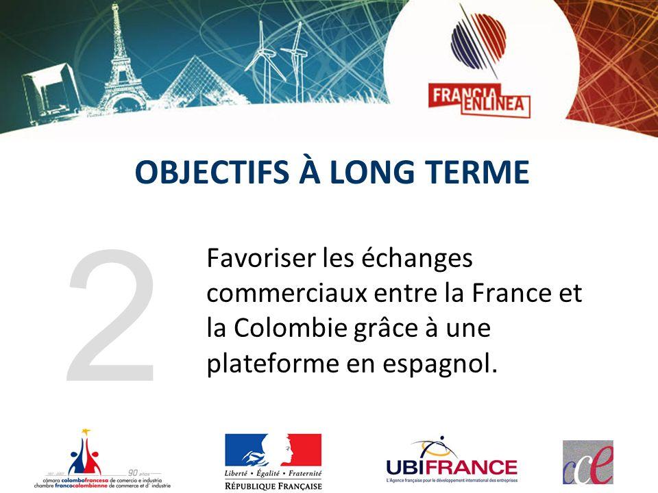 OBJECTIFS À LONG TERME Favoriser les échanges commerciaux entre la France et la Colombie grâce à une plateforme en espagnol. 2