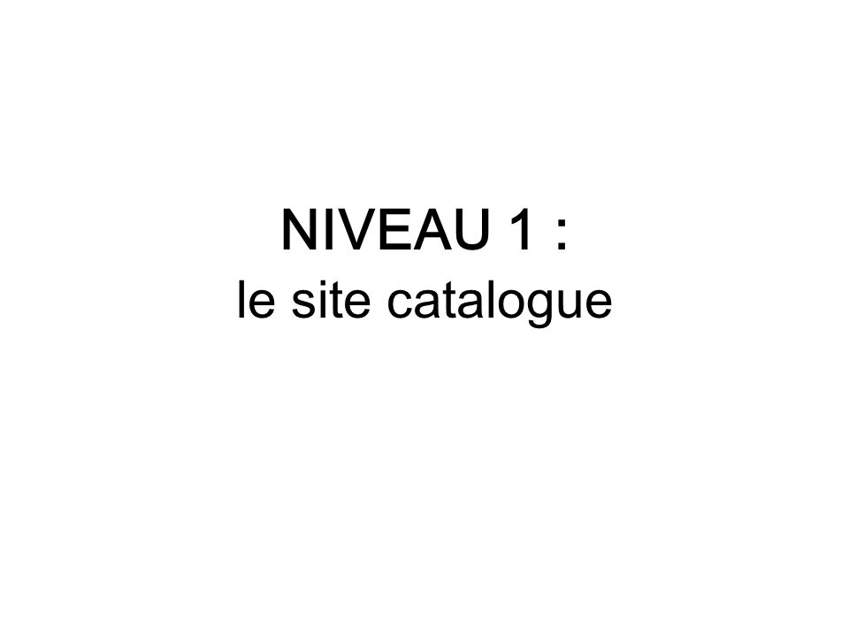 NIVEAU 1 : le site catalogue