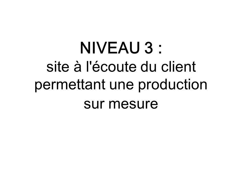NIVEAU 3 : site à l écoute du client permettant une production sur mesure