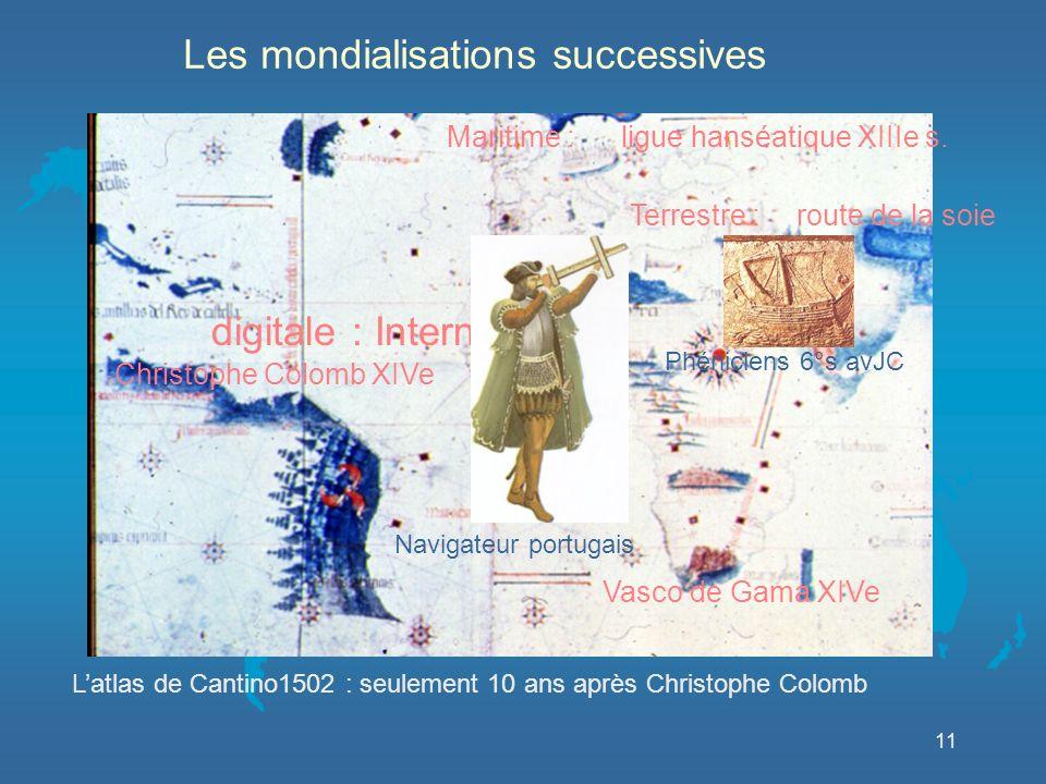 11 Terrestre : Vasco de Gama XIVe Maritime : digitale : Internet Christophe Colomb XIVe Navigateur portugais Phéniciens 6°s avJC ligue hanséatique XIIIe s.
