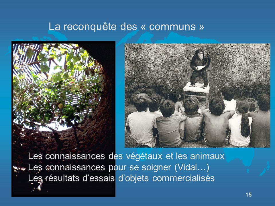 15 La reconquête des « communs » Les connaissances des végétaux et les animaux Les connaissances pour se soigner (Vidal…) Les résultats dessais dobjets commercialisés