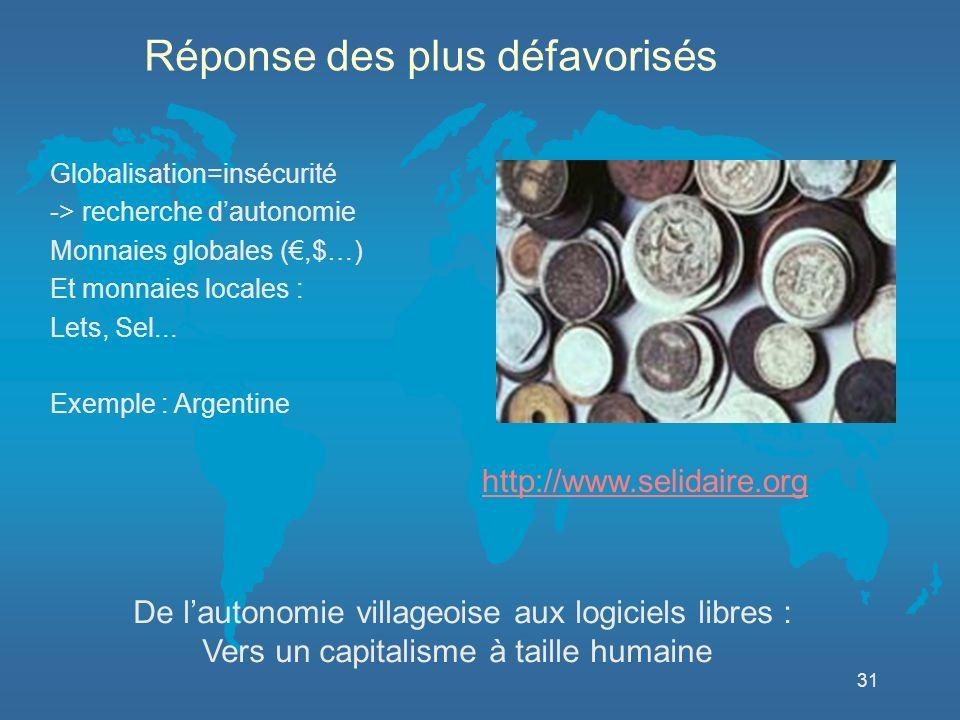 31 http://www.selidaire.org De lautonomie villageoise aux logiciels libres : Vers un capitalisme à taille humaine Réponse des plus défavorisés Globalisation=insécurité -> recherche dautonomie Monnaies globales (,$…) Et monnaies locales : Lets, Sel...