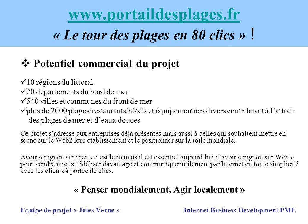 www.portaildesplages.fr www.portaildesplages.fr « Le tour des plages en 80 clics » ! Potentiel commercial du projet 10 régions du littoral 20 départem