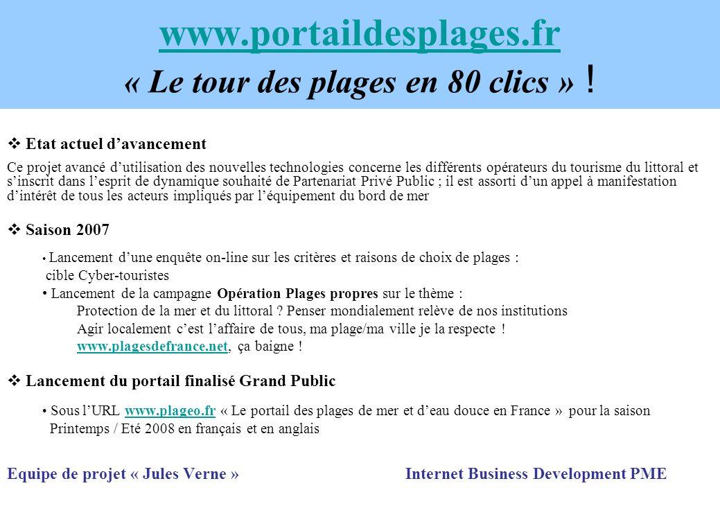 www.portaildesplages.fr www.portaildesplages.fr « Le tour des plages en 80 clics » ! Etat actuel davancement Ce projet avancé dutilisation des nouvell