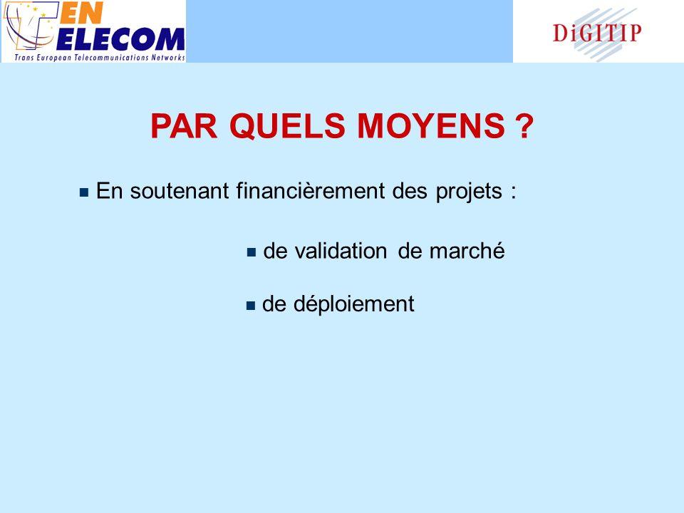 PAR QUELS MOYENS En soutenant financièrement des projets : de validation de marché de déploiement