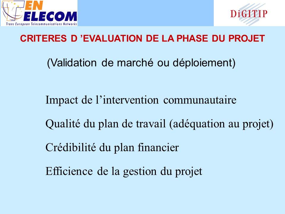 Impact de lintervention communautaire Qualité du plan de travail (adéquation au projet) Crédibilité du plan financier Efficience de la gestion du projet (Validation de marché ou déploiement) CRITERES D EVALUATION DE LA PHASE DU PROJET
