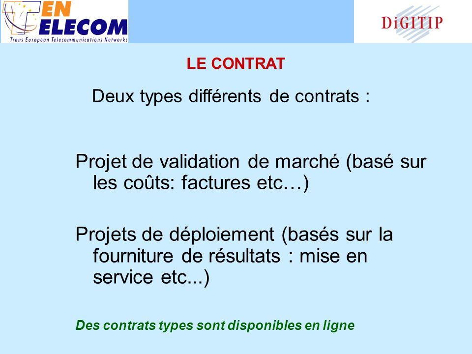 Projet de validation de marché (basé sur les coûts: factures etc…) Projets de déploiement (basés sur la fourniture de résultats : mise en service etc...) Des contrats types sont disponibles en ligne Deux types différents de contrats : LE CONTRAT