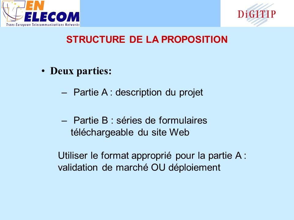 – Partie A : description du projet – Partie B : séries de formulaires téléchargeable du site Web Utiliser le format approprié pour la partie A : validation de marché OU déploiement Deux parties: STRUCTURE DE LA PROPOSITION