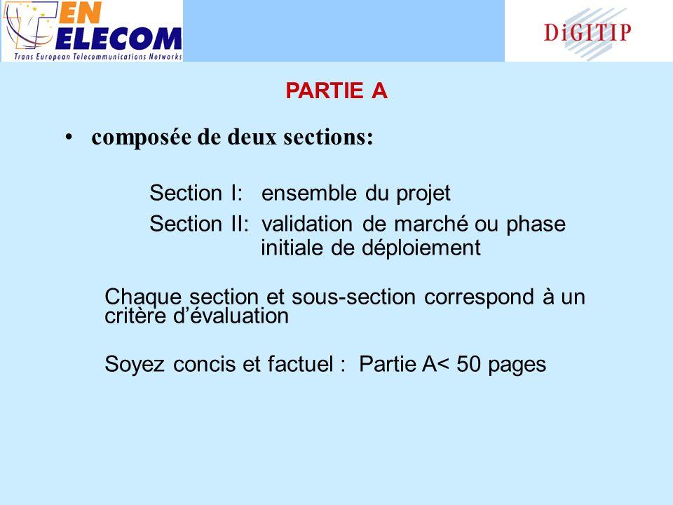 Section I: ensemble du projet Section II: validation de marché ou phase initiale de déploiement Chaque section et sous-section correspond à un critère dévaluation Soyez concis et factuel : Partie A< 50 pages composée de deux sections: PARTIE A