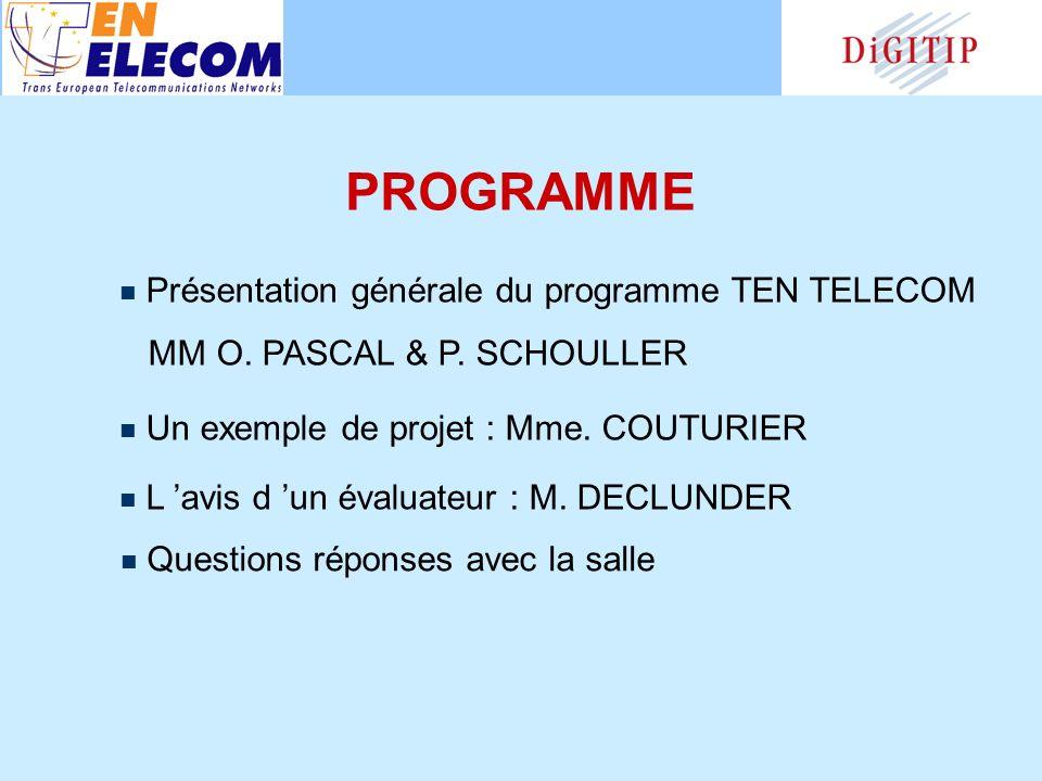 PROGRAMME Présentation générale du programme TEN TELECOM MM O.