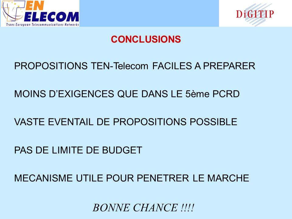 PROPOSITIONS TEN-Telecom FACILES A PREPARER MOINS DEXIGENCES QUE DANS LE 5ème PCRD VASTE EVENTAIL DE PROPOSITIONS POSSIBLE PAS DE LIMITE DE BUDGET MECANISME UTILE POUR PENETRER LE MARCHE BONNE CHANCE !!!.