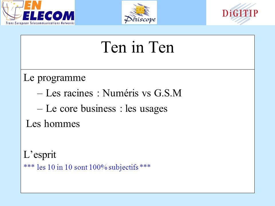 Ten in Ten Le programme –Les racines : Numéris vs G.S.M –Le core business : les usages Les hommes Lesprit *** les 10 in 10 sont 100% subjectifs ***