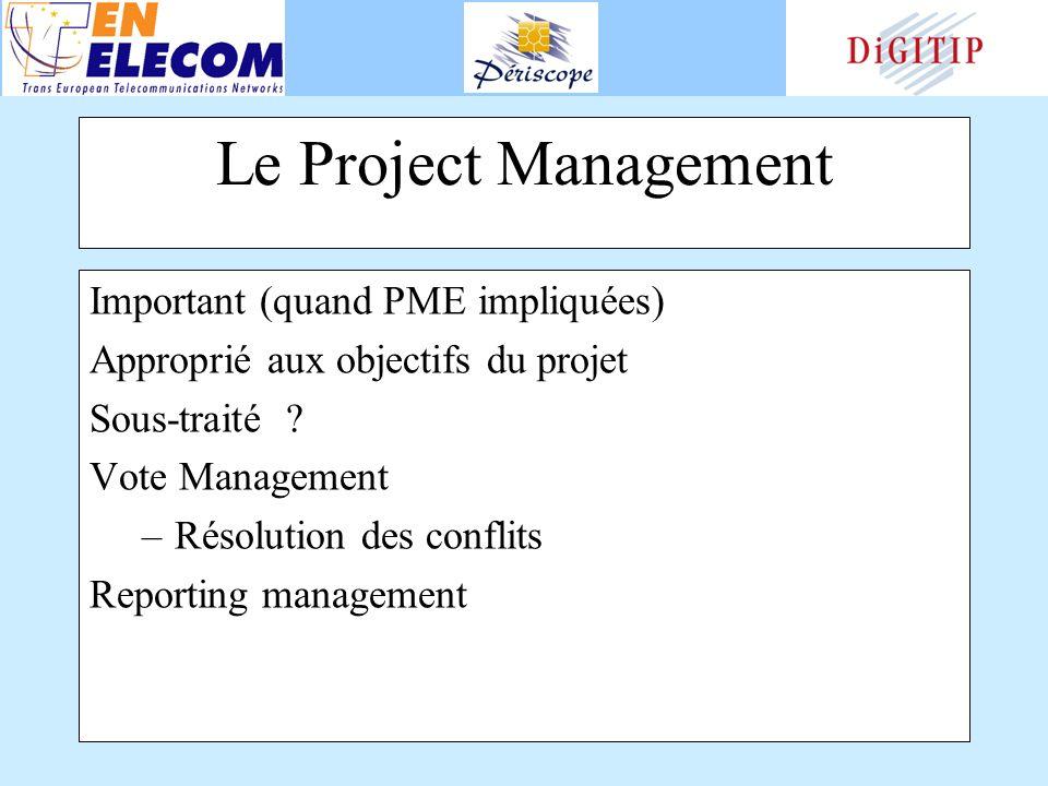 Le Project Management Important (quand PME impliquées) Approprié aux objectifs du projet Sous-traité .