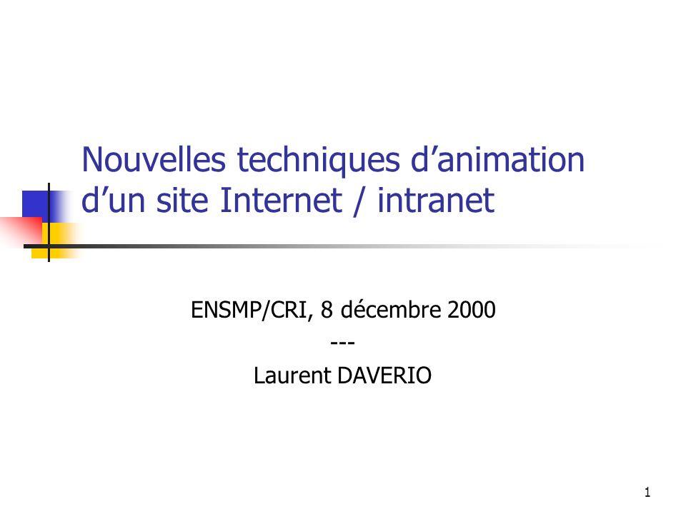 1 Nouvelles techniques danimation dun site Internet / intranet ENSMP/CRI, 8 décembre 2000 --- Laurent DAVERIO