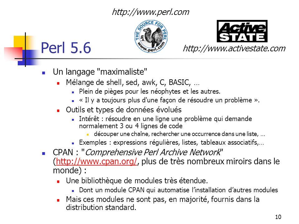 10 Perl 5.6 Un langage
