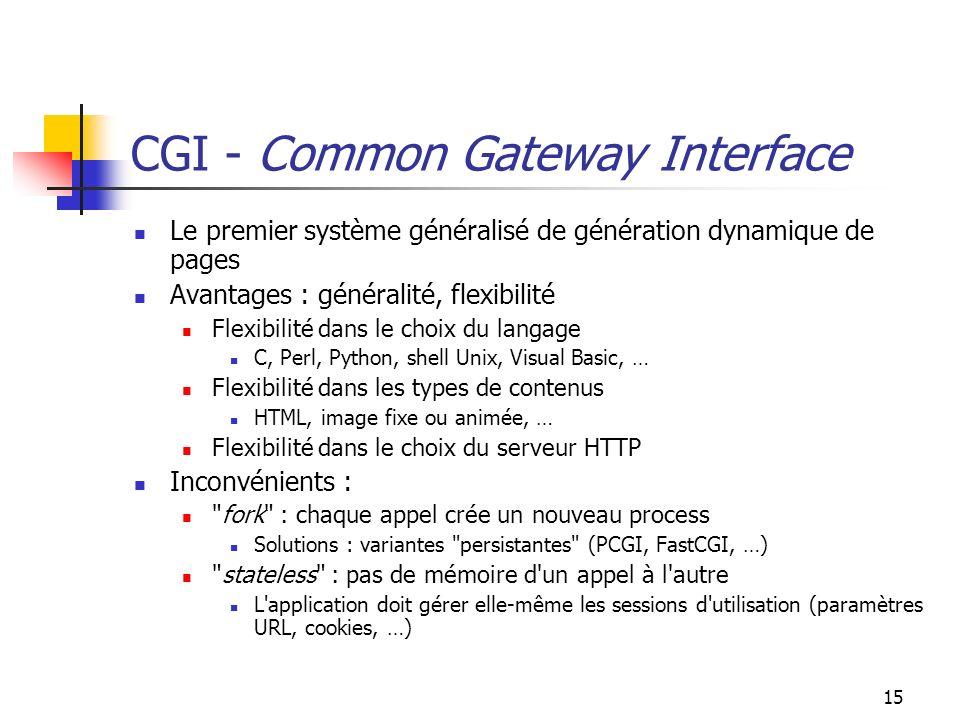 15 CGI - Common Gateway Interface Le premier système généralisé de génération dynamique de pages Avantages : généralité, flexibilité Flexibilité dans le choix du langage C, Perl, Python, shell Unix, Visual Basic, … Flexibilité dans les types de contenus HTML, image fixe ou animée, … Flexibilité dans le choix du serveur HTTP Inconvénients : fork : chaque appel crée un nouveau process Solutions : variantes persistantes (PCGI, FastCGI, …) stateless : pas de mémoire d un appel à l autre L application doit gérer elle-même les sessions d utilisation (paramètres URL, cookies, …)