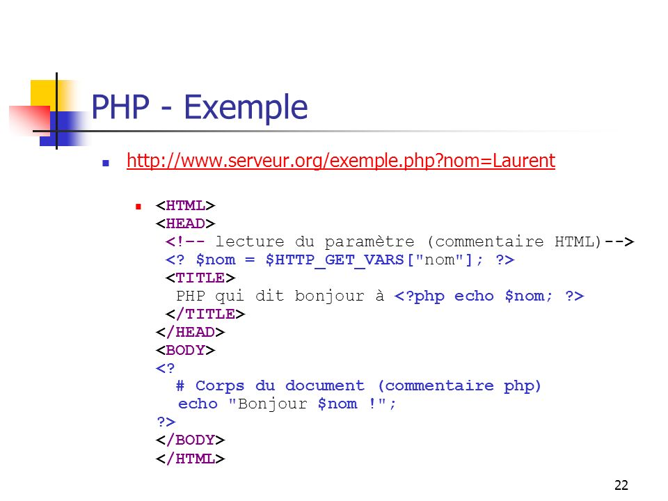 22 PHP - Exemple http://www.serveur.org/exemple.php nom=Laurent PHP qui dit bonjour à