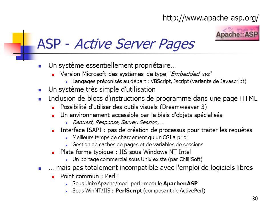 30 ASP - Active Server Pages Un système essentiellement propriétaire… Version Microsoft des systèmes de type Embedded xyz Langages préconisés au départ : VBScript, Jscript (variante de Javascript) Un système très simple dutilisation Inclusion de blocs d instructions de programme dans une page HTML Possibilité d utiliser des outils visuels (Dreamweaver 3) Un environnement accessible par le biais d objets spécialisés Request, Response, Server, Session, … Interface ISAPI : pas de création de processus pour traiter les requêtes Meilleurs temps de chargement qu un CGI a priori Gestion de caches de pages et de variables de sessions Plate-forme typique : IIS sous Windows NT Intel Un portage commercial sous Unix existe (par Chili!Soft) … mais pas totalement incompatible avec l emploi de logiciels libres Point commun : Perl .