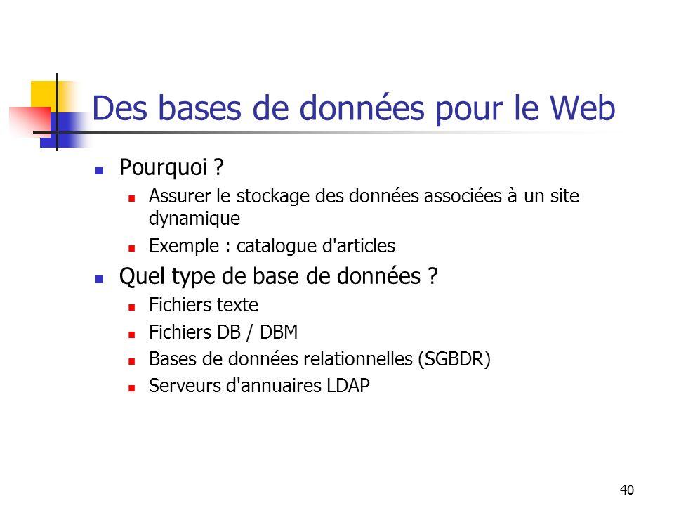 40 Des bases de données pour le Web Pourquoi ? Assurer le stockage des données associées à un site dynamique Exemple : catalogue d'articles Quel type