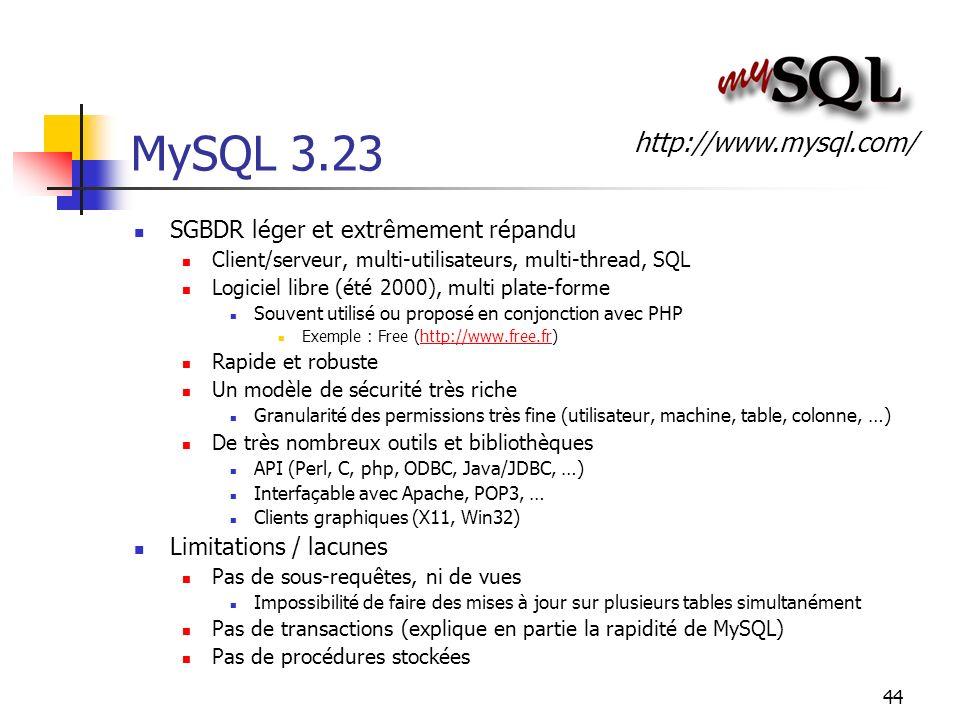 44 MySQL 3.23 SGBDR léger et extrêmement répandu Client/serveur, multi-utilisateurs, multi-thread, SQL Logiciel libre (été 2000), multi plate-forme So
