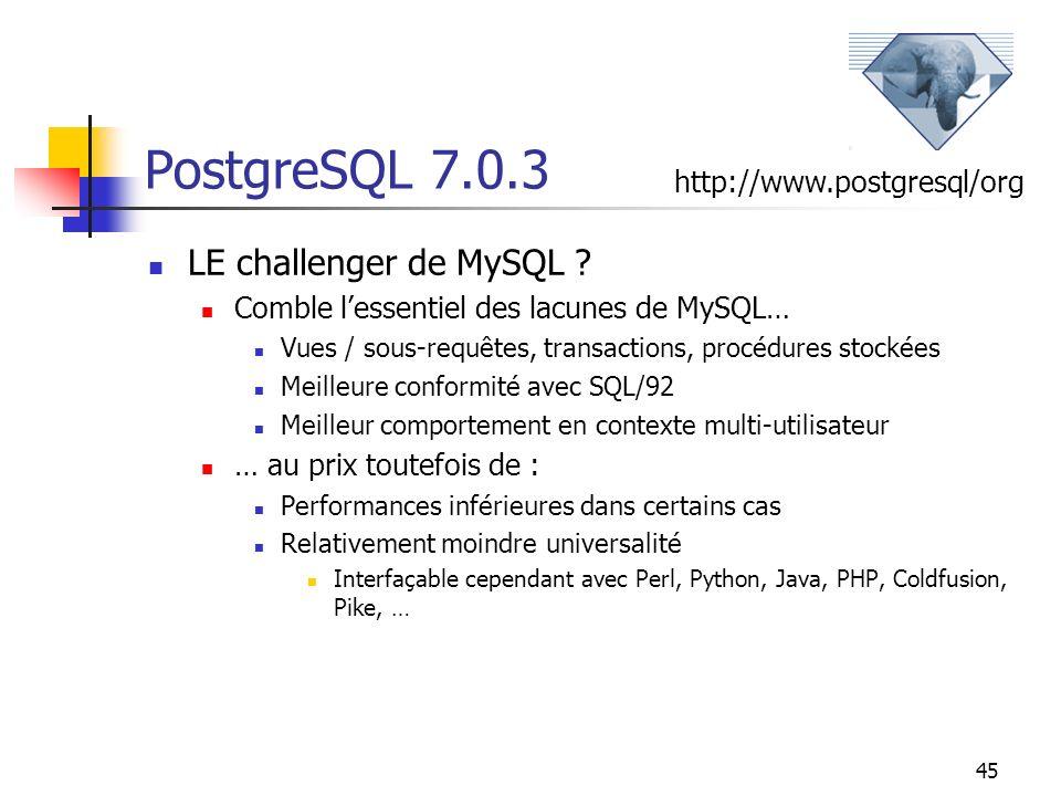 45 PostgreSQL 7.0.3 LE challenger de MySQL ? Comble lessentiel des lacunes de MySQL… Vues / sous-requêtes, transactions, procédures stockées Meilleure