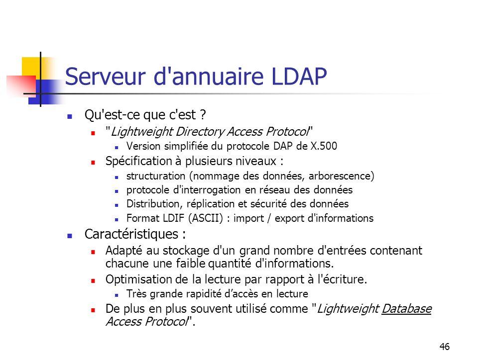 46 Serveur d'annuaire LDAP Qu'est-ce que c'est ?