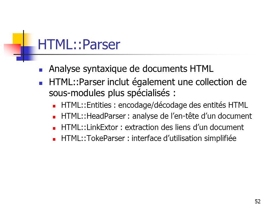 52 HTML::Parser Analyse syntaxique de documents HTML HTML::Parser inclut également une collection de sous-modules plus spécialisés : HTML::Entities :