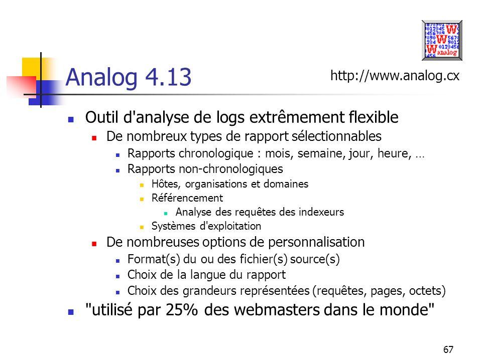67 Analog 4.13 Outil d'analyse de logs extrêmement flexible De nombreux types de rapport sélectionnables Rapports chronologique : mois, semaine, jour,