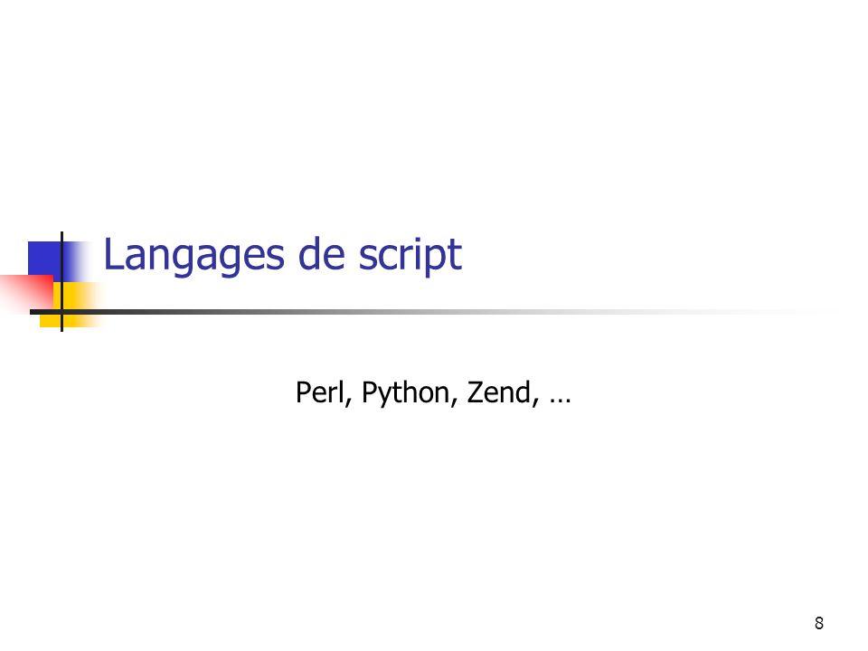 8 Langages de script Perl, Python, Zend, …