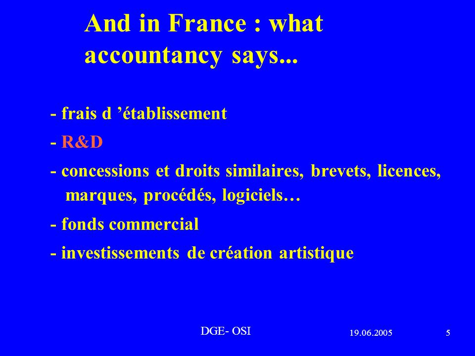 19.06.20055 DGE- OSI And in France : what accountancy says...