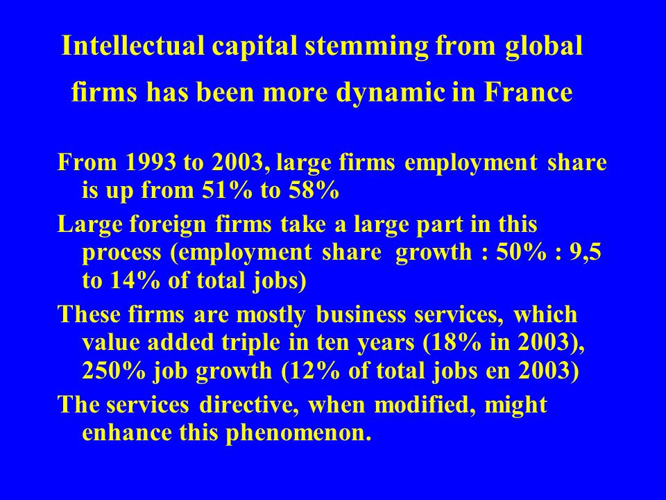 Intellectual capital stemming from global firms has been more dynamic in France From 1993 to 2003, large firms employment share is up from 51% to 58% Large foreign firms take a large part in this process (employment share growth : 50% : 9,5 to 14% of total jobs) These firms are mostly business services, which value added triple in ten years (18% in 2003), 250% job growth (12% of total jobs en 2003) The services directive, when modified, might enhance this phenomenon.