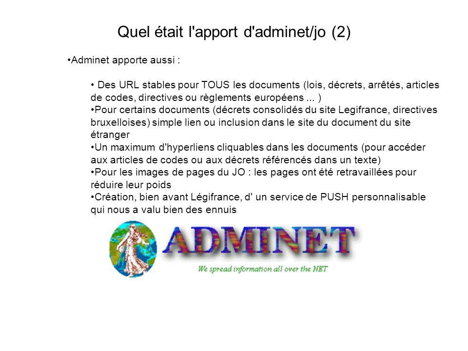 Quel était l apport d adminet/jo (2) Adminet apporte aussi : Des URL stables pour TOUS les documents (lois, décrets, arrêtés, articles de codes, directives ou règlements européens...
