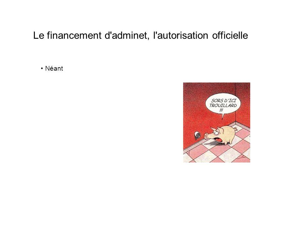 Le financement d adminet, l autorisation officielle Néant