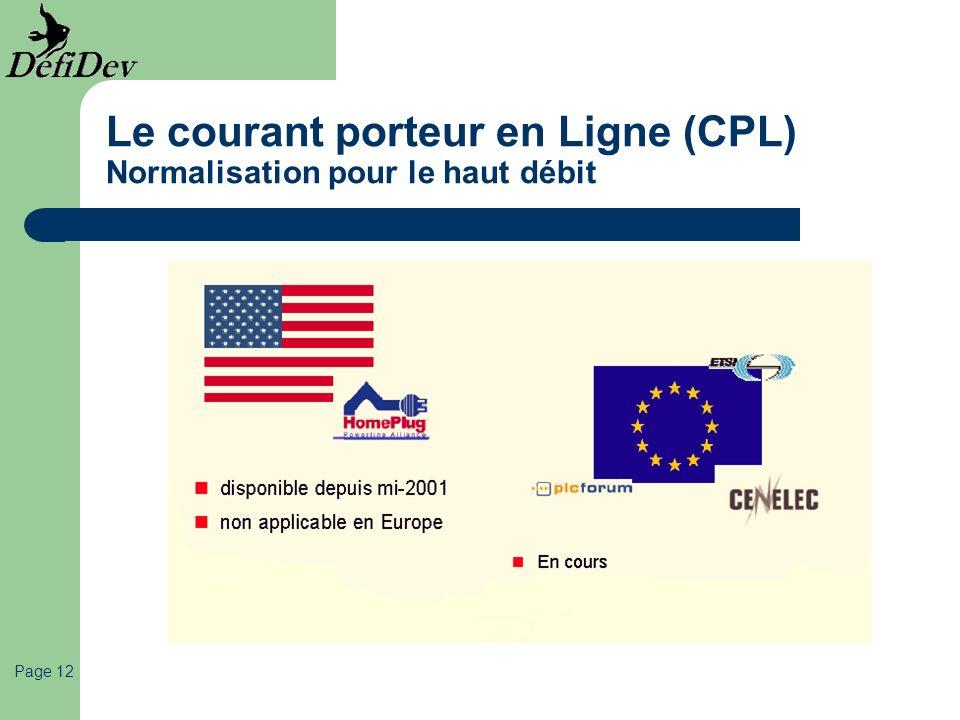 Page 12 Le courant porteur en Ligne (CPL) Normalisation pour le haut débit