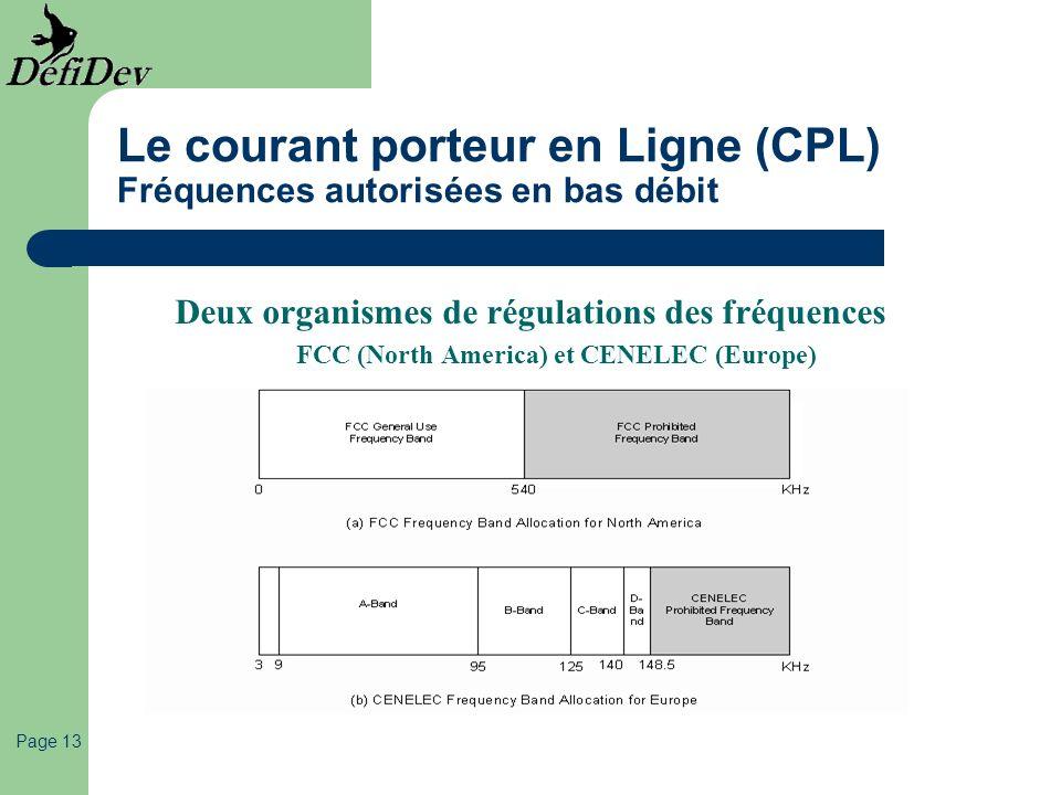 Page 13 Le courant porteur en Ligne (CPL) Fréquences autorisées en bas débit Deux organismes de régulations des fréquences FCC (North America) et CENE