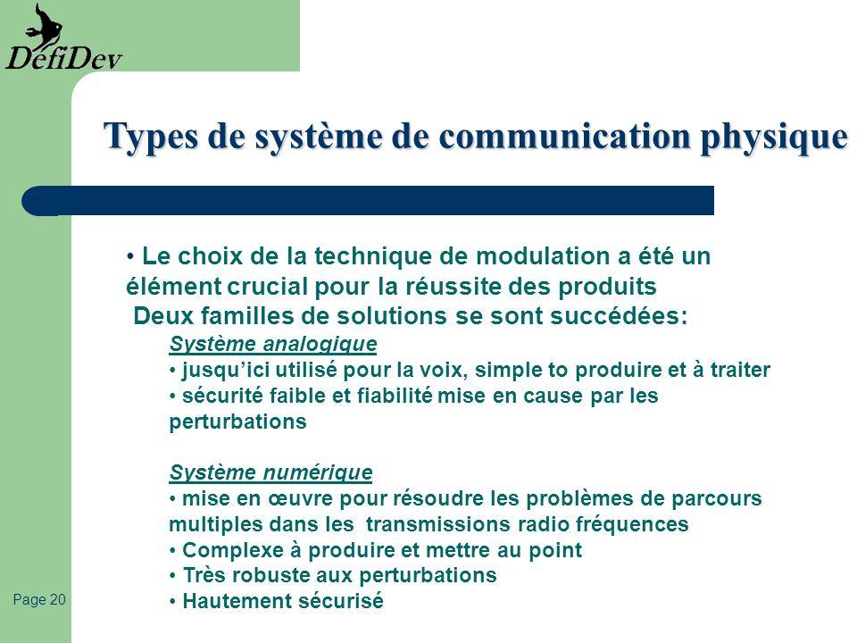Page 20 Types de système de communication physique Le choix de la technique de modulation a été un élément crucial pour la réussite des produits Deux