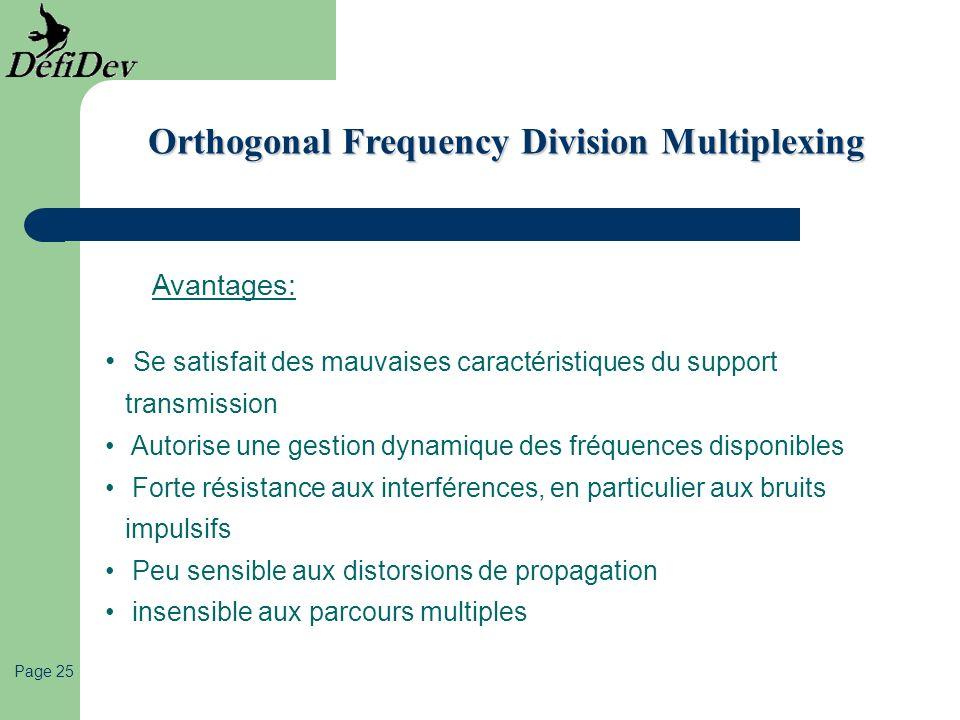 Page 25 Orthogonal Frequency Division Multiplexing Avantages: Se satisfait des mauvaises caractéristiques du support transmission Autorise une gestion