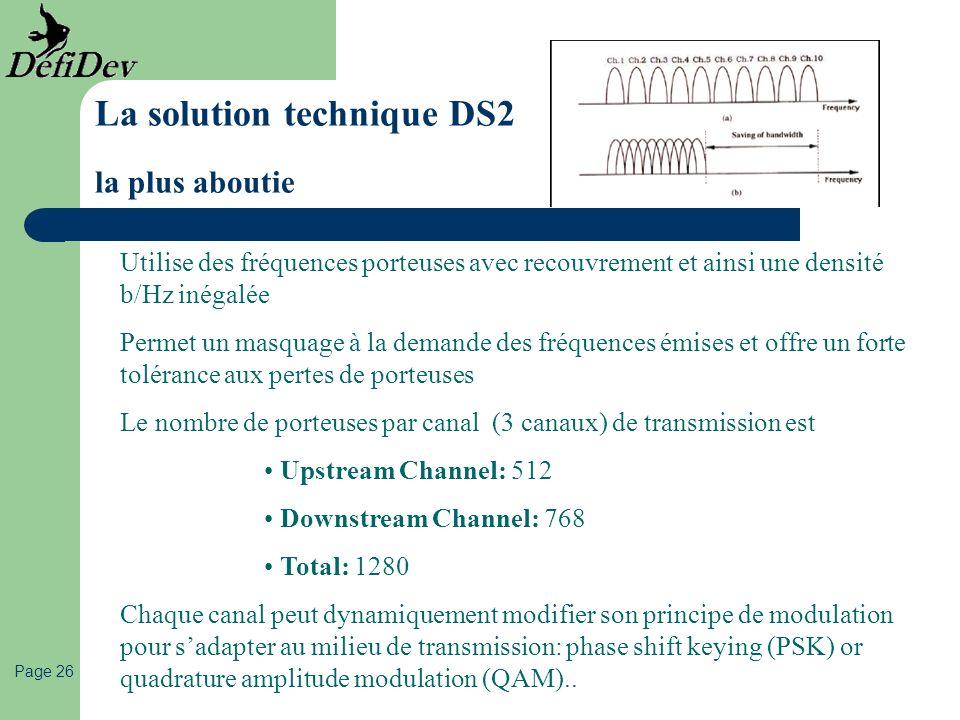 Page 26 Utilise des fréquences porteuses avec recouvrement et ainsi une densité b/Hz inégalée Permet un masquage à la demande des fréquences émises et