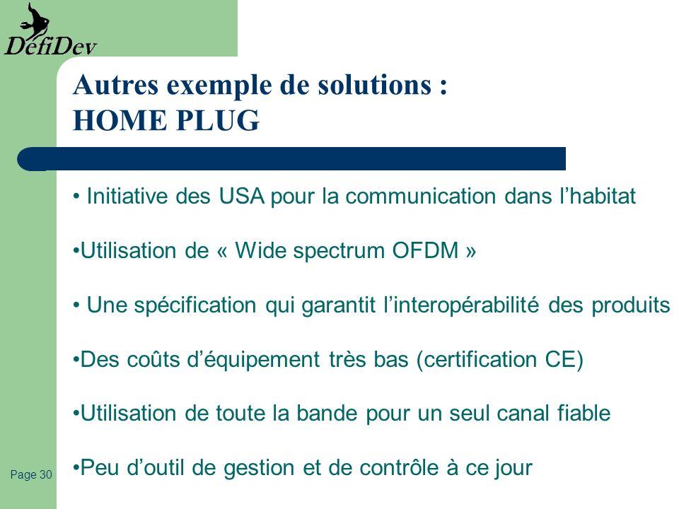 Page 30 Autres exemple de solutions : HOME PLUG Initiative des USA pour la communication dans lhabitat Utilisation de « Wide spectrum OFDM » Une spéci